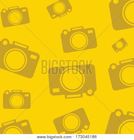 Yellow background with silhouette icons for photo cameras. Vector illustration.