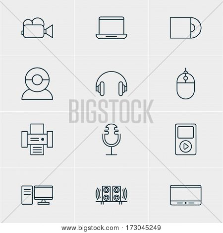 Vector Illustration Of 12 Device Icons. Editable Pack Of Cursor Controller, Dvd Drive, Monitor And Other Elements.