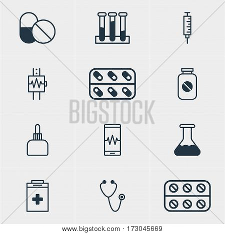 Vector Illustration Of 12 Health Icons. Editable Pack Of Pills, Antibiotic, Medicine And Other Elements.