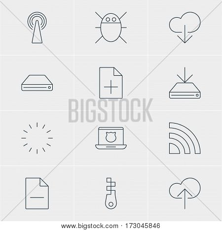 Vector Illustration Of 12 Web Icons. Editable Pack Of Data Upload, Removing File, Router And Other Elements.