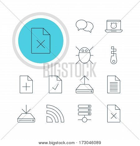 Vector Illustration Of 12 Network Icons. Editable Pack Of Server, Wireless Network, Hdd Sync And Other Elements.