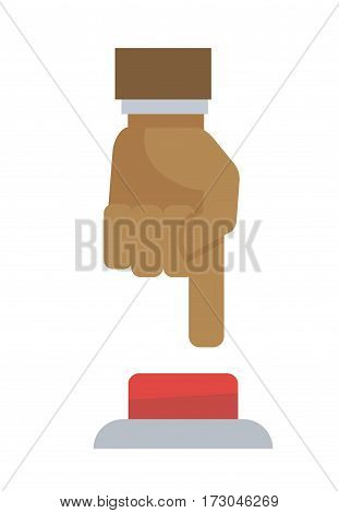 Hand pushing the button isolated on white background. Male hand pressing round red bell by forefinger. Logo design of businessman arm decided to start cooperation with company vector illustration