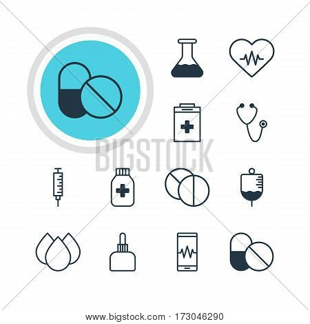 Vector Illustration Of 12 Medicine Icons. Editable Pack Of Flask, Antibiotic, Round Tablet And Other Elements.