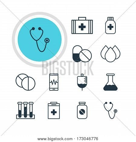 Vector Illustration Of 12 Medical Icons. Editable Pack Of Phone Monitor, Round Tablet, Antibody And Other Elements.