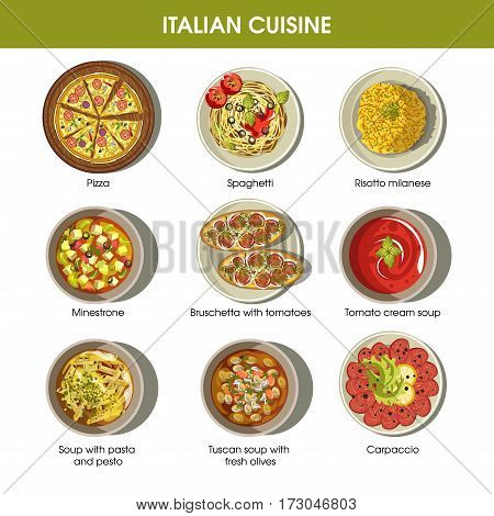 Italian cuisine flat colorful poster with traditional dishes on plates. Vector collection of pizza dish, risotto milanese, bruschetta with tomatoes, tomato cream soup, soup with pasta and pesto