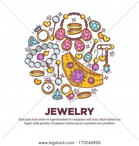 Jewelry items collection in round shape on white. Vector illustration in flat design of jewelry set and some text information below. Gold and gemstones precious accessory assortiment concept