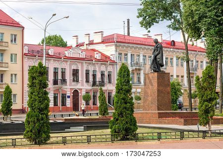 Gomel Belarus - August 24 2013: Monument to soldiers-liberators installed on Uprising Square in 1968