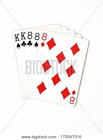 Poker hand rankings symbol set Playing cards in casino: full house on white background, luck abstract, horizontal photo with copyspace closeup