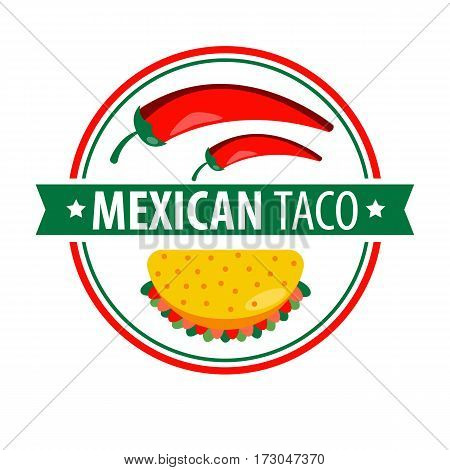 Taco logo icon isolated on white. Traditional Mexican dish composed of corn or wheat tortilla folded or rolled around a filling. Logotype design for taco shop with chilly peppers vector illustration