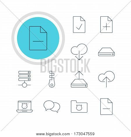 Vector Illustration Of 12 Network Icons. Editable Pack Of Removing File, Hdd Sync, Checked Note And Other Elements.