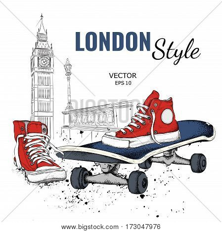 Hand Drawn Vector Sneakers And Skate. London Background. Vector Illustration