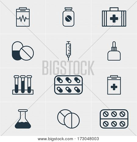 Vector Illustration Of 12 Medicine Icons. Editable Pack Of Pills, Antibiotic, Experiment Flask And Other Elements.