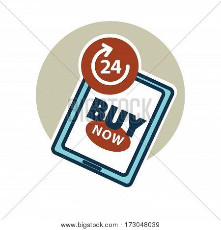 Buy now 24 hours day. Online shopping whole day long without stop. Advertisement emblem design of tablet with text about ability to buy anytime. Ecommerce buying vector illustration logo in flat