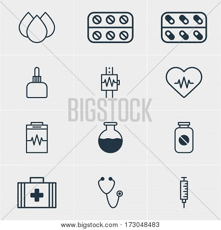 Vector Illustration Of 12 Medical Icons. Editable Pack Of Pulse, Pills, Medical Bag And Other Elements.