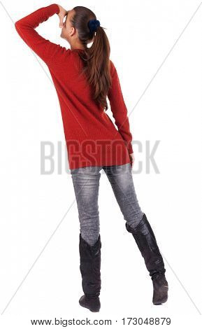 back view of standing young beautiful  woman.  blonde girl in jeans. Rear view people collection.  backside view of person.  Isolated over white background.
