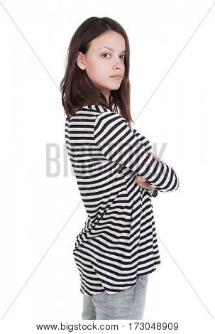 side view of standing young beautiful  brunette woman in striped frock. girl  watching. Rear view people collection.  backside view of person.  Isolated over white background.