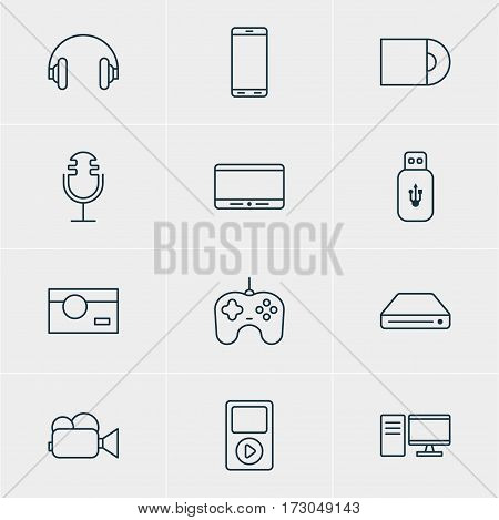 Vector Illustration Of 12 Accessory Icons. Editable Pack Of Dvd Drive, Usb Card, Sound Recording And Other Elements.