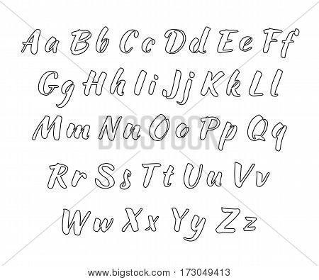 Vector handwritten alphabet. Uppercase and lowercase letters. Black print on white background. Outline letters
