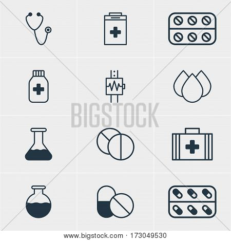 Vector Illustration Of 12 Health Icons. Editable Pack Of Exigency, Pills, Pulse And Other Elements.