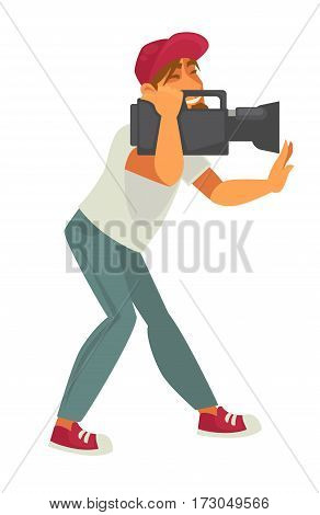 Film director with video camera isolated on white background. Production director or picture editor profession character in t-shirt and blue jeans making movie. Vector illustration in cartoon style
