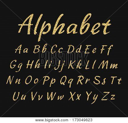 Vector handwritten alphabet. Uppercase and lowercase letters. Golden glitter effect isolated on black background