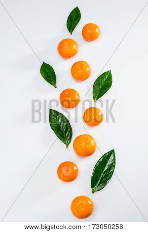 top view of fresh whole tangerines and leaves on white