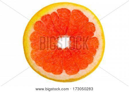 close up view of fresh grapefruit slice on white