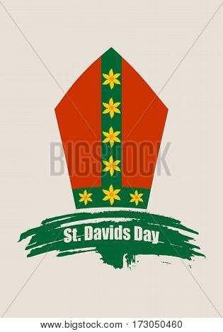St Davids Day greeting card template. Wales national holiday. Catholic hat tiara. March, 1st. Grunge brush stroke