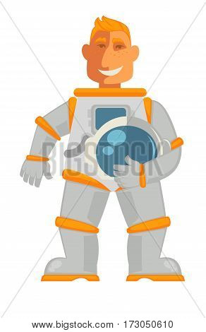 Astronaut in space suit with helmet in hand isolated on white. Smiling spaceman vector illustration in cartoon style. Cosmonaut in protective uniform. Profession character flat design