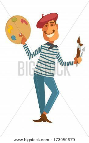 Painter with brushes and palette set isolated on white. Smiling artist in cute red hat. Craftsman in striped shirt and blue trousers. Designer with accessories for drawing vector in cartoon style