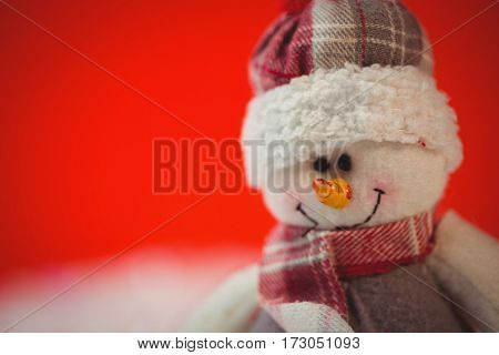 Close-up of snowman during christmas time
