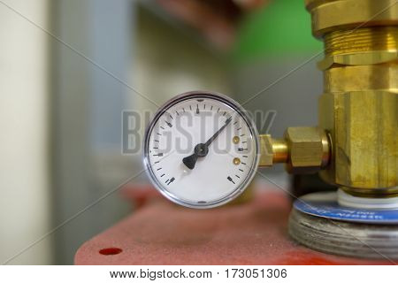 work pressure regulator manometer clock technical gas liquids and oil closeup