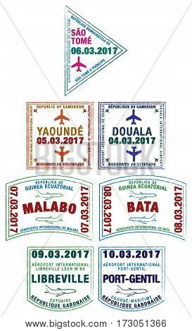 Stylised passport stamps of Sao Tome and Principe Cameroon Equatorial Guinea and Gabon in vector format.