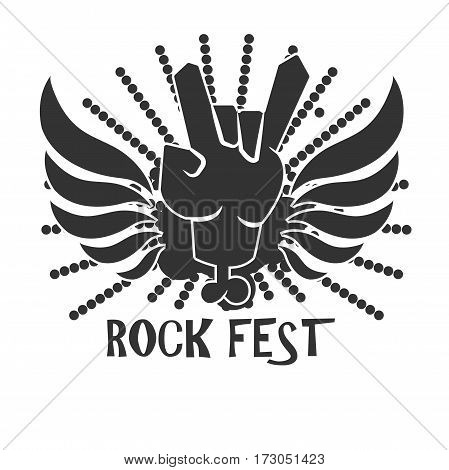 Rock fest icon logo design in black and white colors. Symbol of freedom. Hand in rock n roll devil sign with black wings vector illustration in flat style design, creative logotype for festival