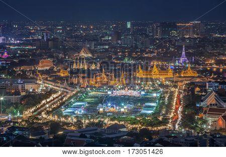 King fastival Grand palace and Wat phra keaw at sunset bangkok Thailand