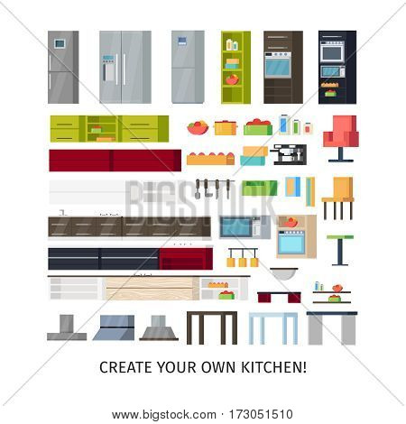Modern kitchen interior objects set with equipment utensils and furniture for your own design project isolated vector illustration