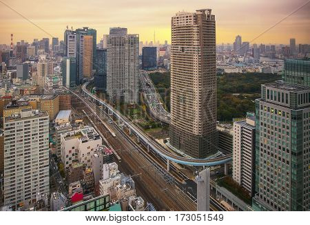 Tokyo Japan cityscape and monorail in morning.