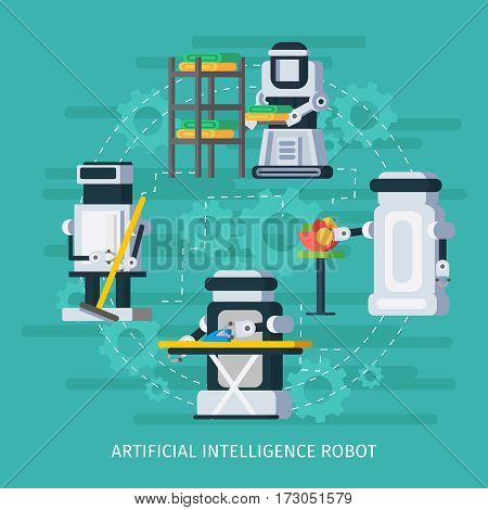 Artificial intelligence round composition with robots and cyborgs helping people in housework duties vector illustration