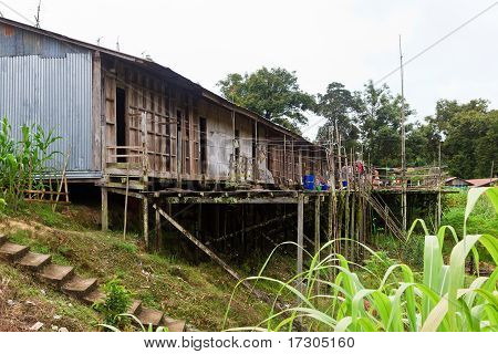 Long House Of The Iban Tribe