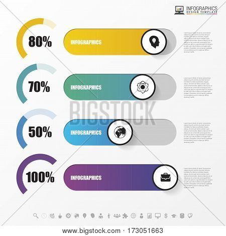 Chart template in modern style. For infographic and presentation. Vector illustration