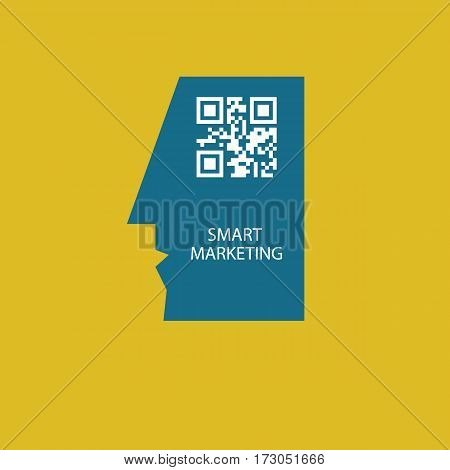 QR code in head of man. Icon smart marketing. Vector illustration.