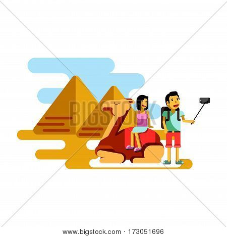 Summer vacation poster vector illustration. Couple resting in Egypt near pyramids making selfie photo. Woman sitting on camel, man standing nearby vector illustration in flat style design