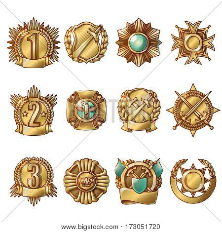 Cartoon gold military awards set of different shapes with numbers laurel wreath and medieval weapons isolated vector illustration