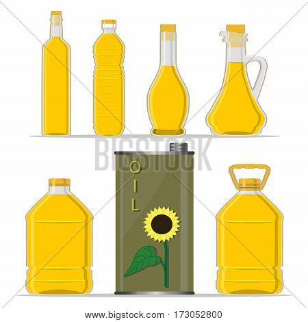 Vector illustration logo for yellow glass bottle Sunflower Oil plastic bottles with cap iron jar sunflower oil metal container natural organic liquid sunny flowers in label oily drop white background