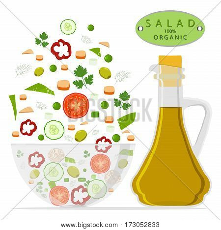 Vector illustration of logo for salad chopped in glass bowl isolated white background.Salad drawing consisting of vegetable tomato cucumber pepper bottle olive oil organic food.Eat salads in bowls.