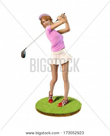 3D painting of a beautiful girl golf player teeing-off standing on a patch of grass front view.