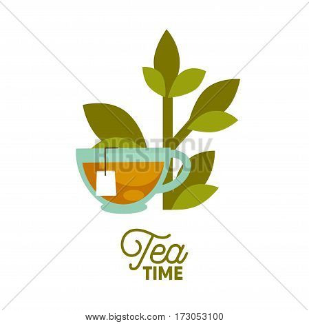Tea time logo template. Vector icon of hot cup, green leaf and brewed teabag