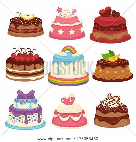 Decorated sweet festival cakes collection isolated on white. Vector poster of sweet baked cakes with colorful decorated confectioneries of chocolate and fruit. Dessert attributes for holidays.