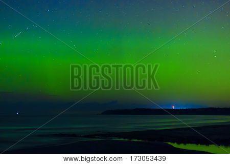 Aurora Boralis showing its beauty over the Baltic sea. Estonia