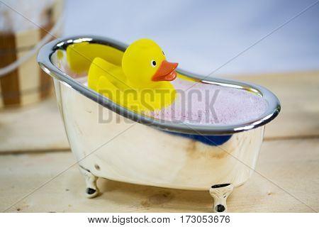 Rubber duck in bath symbolic voucher wellness wellness voucher